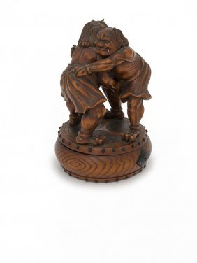 a Japanese Ivory Carving Of A Pair Of Wrestlingoni,