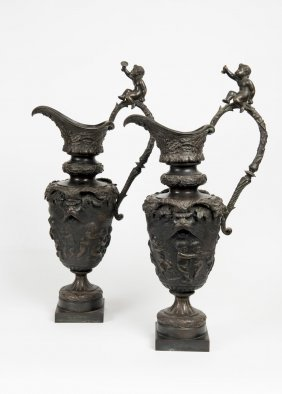 A Pair Of 19th Century Classical Bronze Ewers