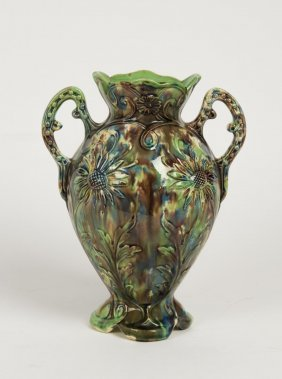 An Australian Pottery Two Handled Vase Moulded With