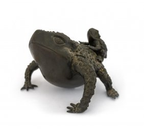 A Japanese Bronze Figure Of A Toad, With A Young On Its