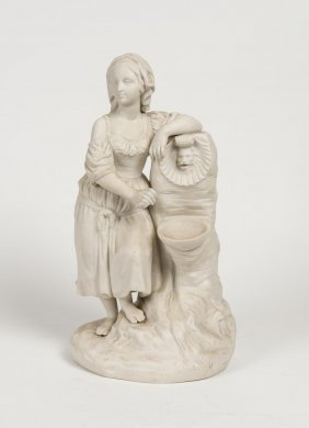 A Victorian Parian Figure Of A Young Girl Standing By A