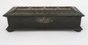 A Victorian Ebonized Casket With Four Panels Of