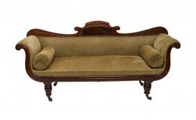 A Regency Mahogany Settee With Carved Back Rail With