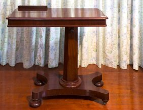 A Victorian Mahogany Adjustable Bedside Table With