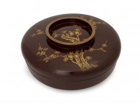 A Japanese Brown Circular Lacquer Bowl And Cover