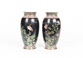 A Pair Of Japanese Cloisonn Black Ground Vases