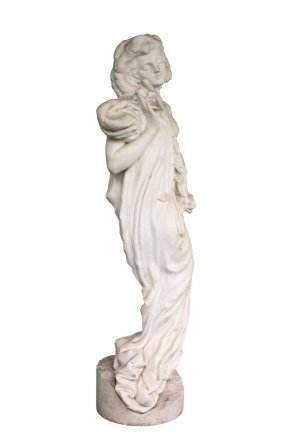 A French Life Size Marble Figure Of Ophelia 174 Cm