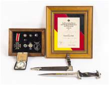 German WW2 military group comprising an SS dagger with
