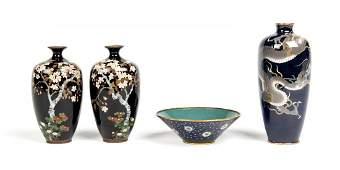 Four cloisonné objects, Meiji period (1868-1912)