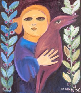 Mirka Mora (born 1928) Self Portrait With Bird 2006