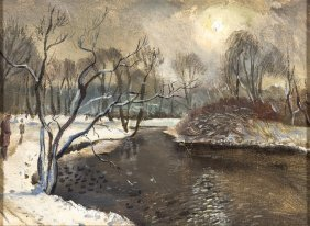 European School (19th/20th Century) Winter River Scene