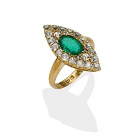 A Victorian Emerald And Diamond Ring, Of Marquise