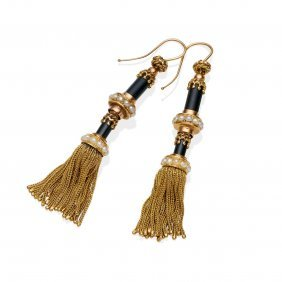 A Pair Of Gold, Pearl And Black Enamel Tassle Earrings.