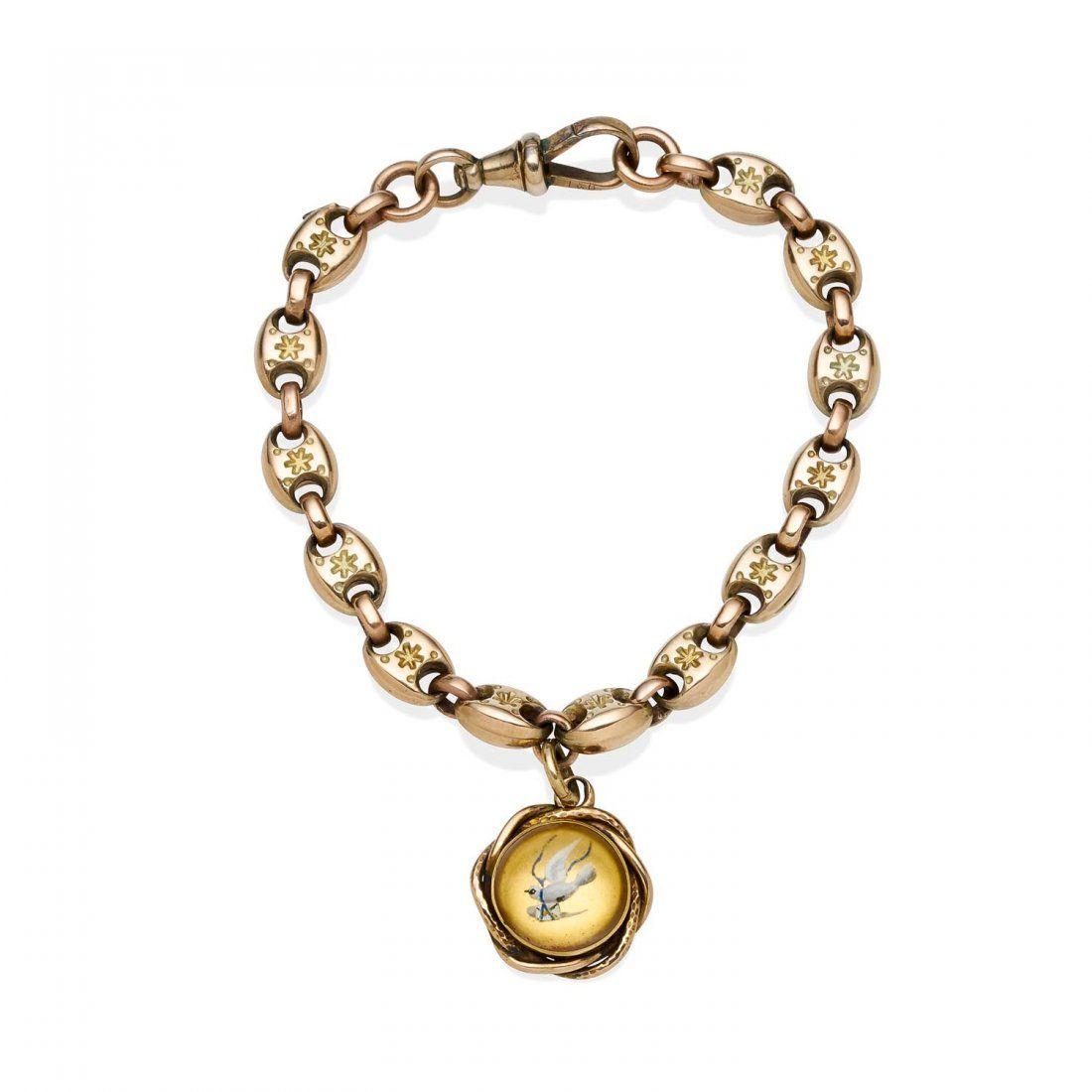 A Victorian gold bracelet, of hollow gucci link design