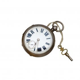 An Antique Sterling Silver Openface Pocket Watch, Key