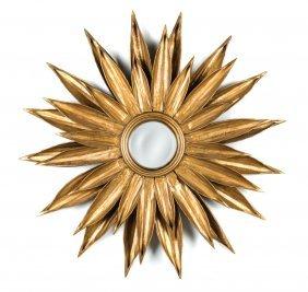 A Gilt Metal Sunflower Form Wall Mirror French Circa