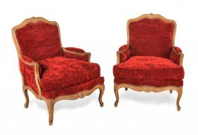 A Good Pair Of Louis Xvi Style Carved And Crimson