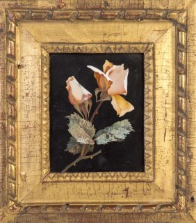 A Pietra Dura Panel Of A Pink Rose In Gilt Frame