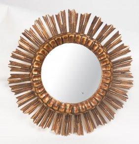 A Gilt Wood Circular Sunburst Mirror, Italian, Circa