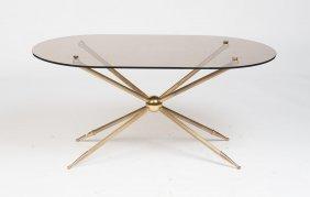 A Stylish Gilt Brass And Smokey Glass Coffee Table,
