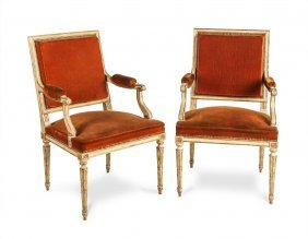 A Pair Of Gilt And Cream Painted Fauteille Upholstered