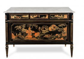 A Very Decorative Chinoiserie Lacquer And Carrara