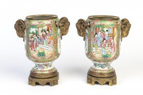 A Pair Of Cantonese Porcelain And French Gilt Bronze
