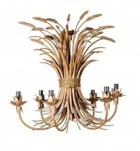 A Gilt Metal Wheatsheaf Form Ceiling Light, French