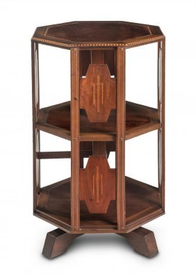 A Stylish Marquetry Hexagonal Revolving Bookcase,