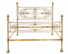 An Exceptional And Rare Empire Period Brass Bed French,