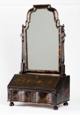 A Chinoiserie Black Lacquer Dressing Table Mirror,