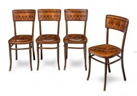 A Set Of Stylish Art Nouveau Bentwood Chairs By J. And