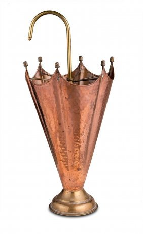 A Copper And Brass Parasol Shaped Umbrella Stand,