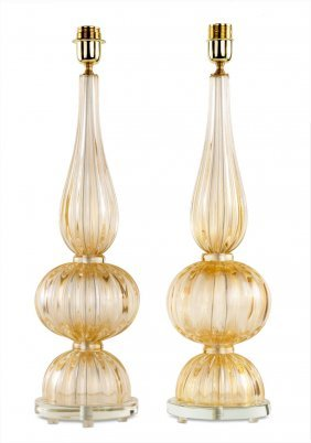 A Pair Of Fluted Murano Glass Gilt Speckled Table