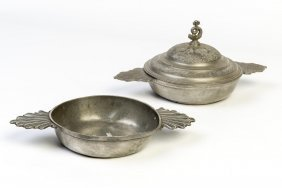 A Pair Of Pewter Twin Handled Quaiche (wine Taster)