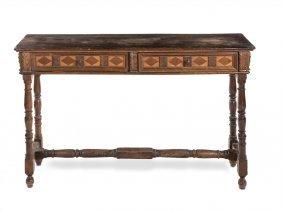An Inlaid Walnut Rectangular Hall Table Italian 18th /