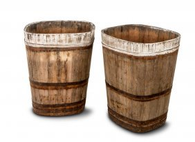 A Pair Of Coopered Oak Wine Bins, Alsace 19th Century