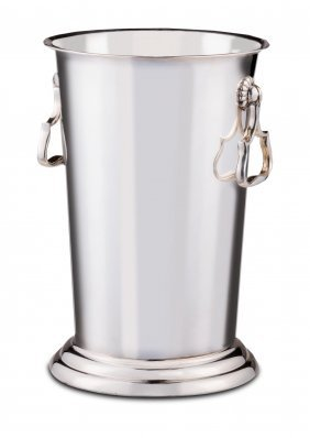 A Tall Silver Plated Wine Bottle Cooler, Spanish Circa
