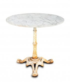A Circular Cast Iron And Carrara Marble Garden Table,