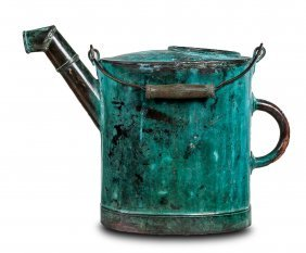 A Good Oxidized Copper Watering Can With Turned Handle,