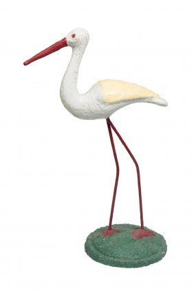 A Painted Concrete Garden Stork, French, Circa 1950