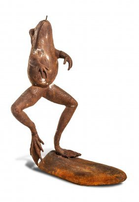 A Cast Iron Fountain In The Form Of A Leaping Frog,