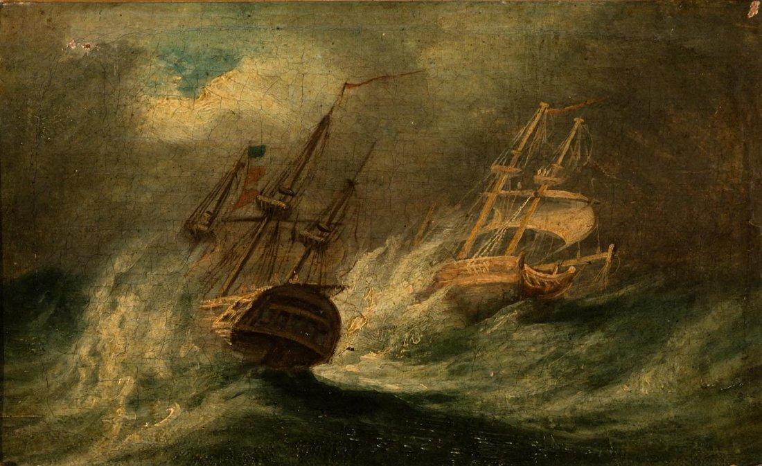 BRITISH SCHOOL  Ships in a Storm circa 1880