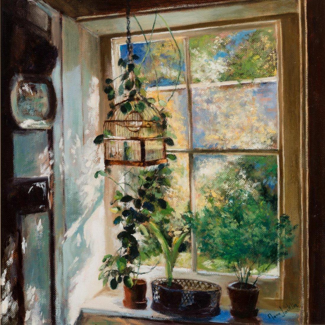 NORA JACKLIN Through my Window oil on canvas on board