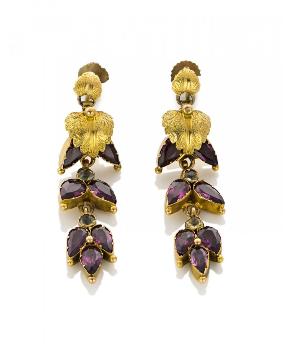 A pair of Victorian garnet and paste pendant earrings,