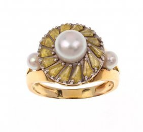 A Pearl And Sapphire Ring, The Central Akoya Pearl Set