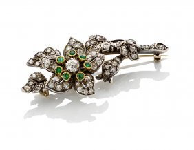 A Victorian Diamond And Emerald En Tremblant Floral