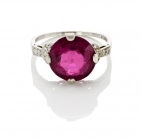 An Art Deco Rubellite Tourmaline And Diamond Ring,