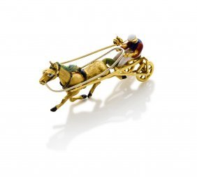 An Italian Gold And Enamel Trotting Brooch. 18ct Yellow