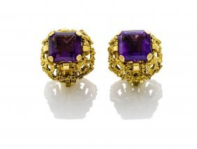 A Pair Of Amethyst Earrings.14ct Yellow Gold. Weight